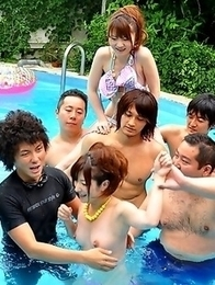 Really sexy Japanese pool party