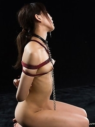 Even while tied up Karina Oshina begs for cock. She cant resist and opens her mouth and throat wide to receive a hard dick.