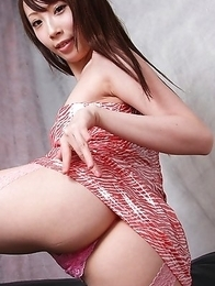 Aya Kisaki with sexy legs in fishnets shows cunt in lace