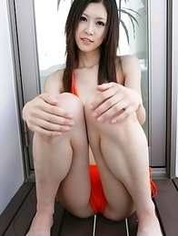 Kotone Amamiya in kinky outfit shows naughty ass outdoor