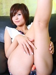 Miho Kotosaki shows cunt in panty while playing with legs